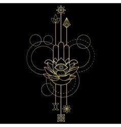 Hamsa hand of fatima amulet tattoo vector