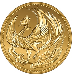 Japanese money gold coin with phoenix vector