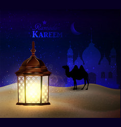 lanterns stands in the desert at night sky vector image vector image