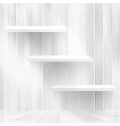 Layers blank light wooden shelf eps10 vector