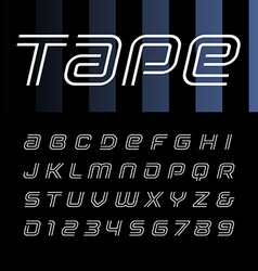 Linear italic font alphabet with stripes effect vector image vector image