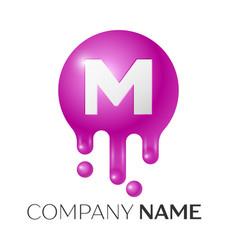 M letter splash logo purple dots and bubbles vector