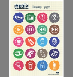 Media and arrows web icons set drawn by chalk vector image