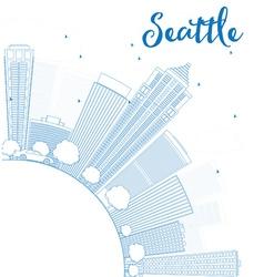 Outline seattle city skyline vector