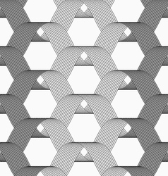 Ribbons gray shades overlapping grid pattern vector image