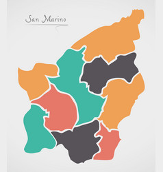 San marino map with states and modern round shapes vector