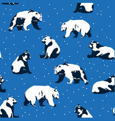 seamless christmas pattern with bears vector image vector image