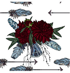 seamless pattern with arrow and peony bouquet vector image vector image