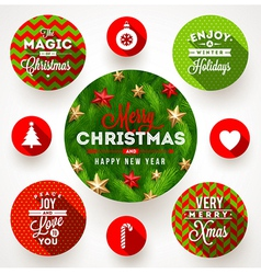 Set of round frames with Christmas greetings vector image vector image