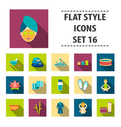 spa set icons in flat style big collection spa vector image