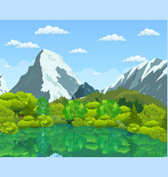 Summer landscape with green forest vector