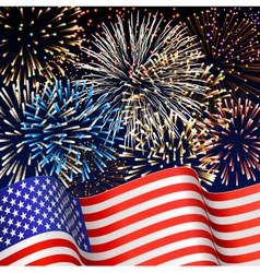 USA flag with fireworks vector image vector image