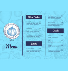 Vegan restaurant menu hand drawn design vector