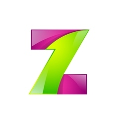 Z letter green and pink logo design template vector image