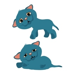 Sad blue kitty cartoon animation vector