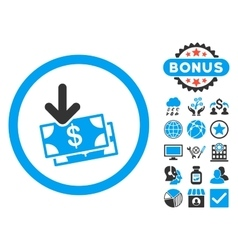 Get banknotes flat icon with bonus vector