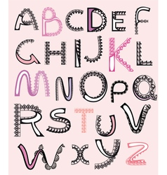 Patterned letters alphabet lace vector