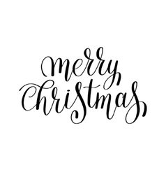 Merry christmas black and white handwritten vector