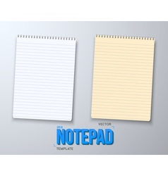 Paper notebook with white and yellow sheets vector