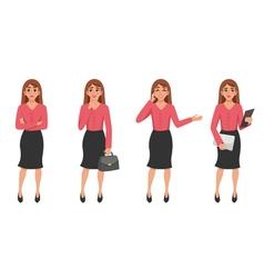 Cartoon Woman Gesture Set vector image