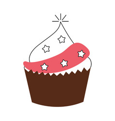 Delicious cupcake celebration icon vector