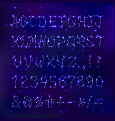 Font space constellation alphabet typeface script vector