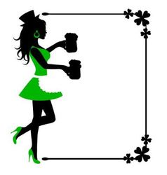 Female silhouette with beer mugs and frame with cl vector