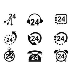 24-hrs service icons vector