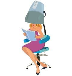 Cartoon woman sitting under blow dryer vector