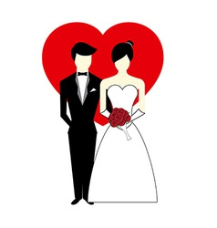 Bride and groom with heart vector