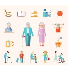 Senior Lifestyle Flat Icons vector image