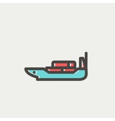Cargo ship with container thin line icon vector