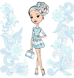 Fashion cute happy girl vector