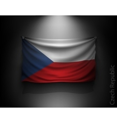 Waving flag czech republic on a dark wall vector