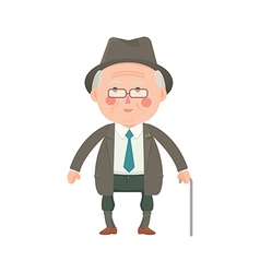 Senior man in suit with walking stick vector