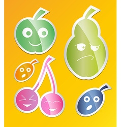Berry icon set labels with berries apple pear plum vector