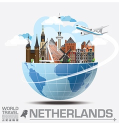 Netherlands landmark global travel and journey vector
