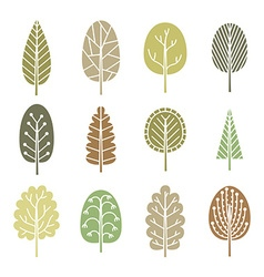 Set of trees in spring soft colors vector