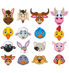 Farm animal head cartoon collection vector