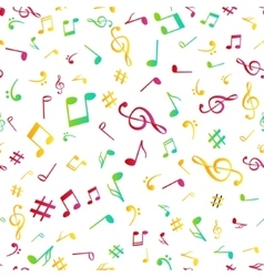 Abstract music colorful notes seamless pattern vector image