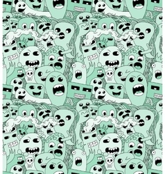 Abstract seamless pattern with doodle monsters vector