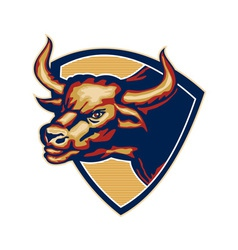 Angry bull head crest retro vector