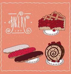 Bakery set with red berries in cartoon style vector