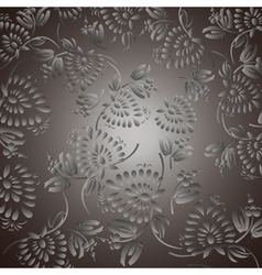 Black background with silver flowers and leaves vector image vector image
