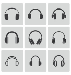 Black headphone icons set vector