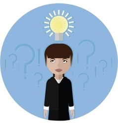 Business woman or manage and idea lamp vector