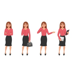 Cartoon woman gesture set vector