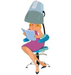 Cartoon woman sitting under blow dryer vector