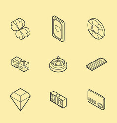 casino flat outline isometric set vector image