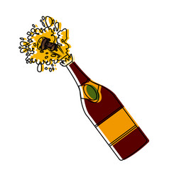 Champagne bottle open vector